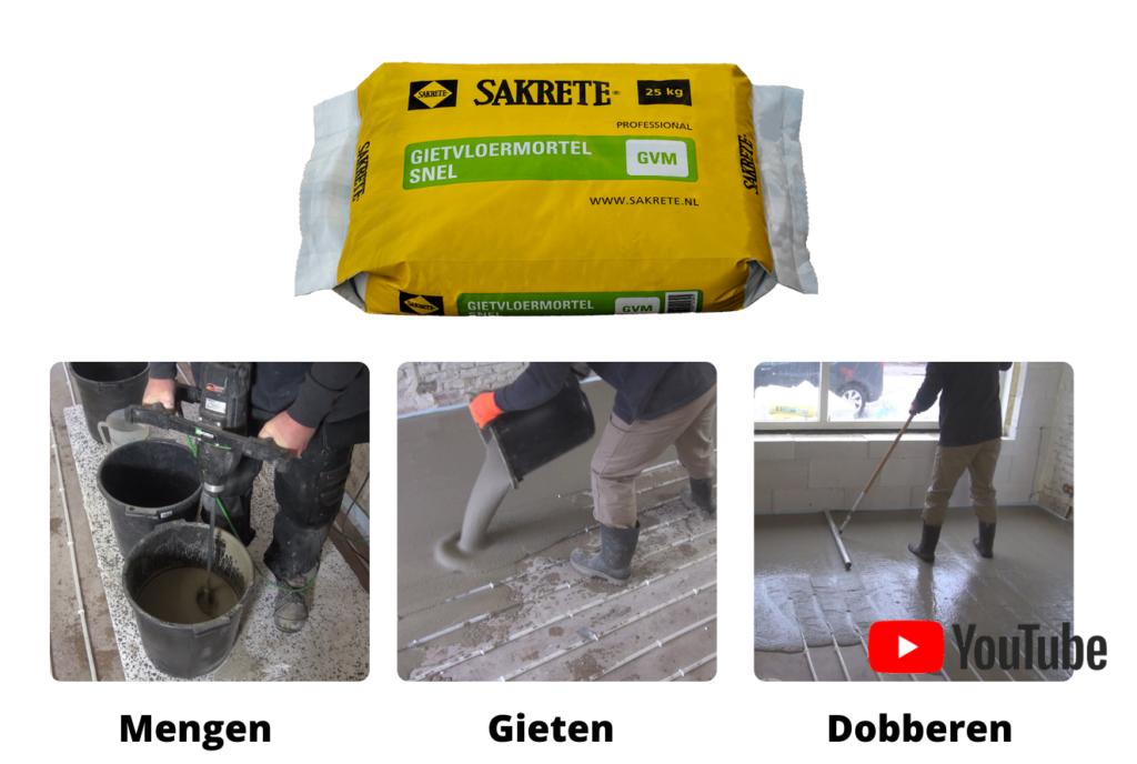 Cementdekvloer gieten met Sakrete Gietvloermortel Snel